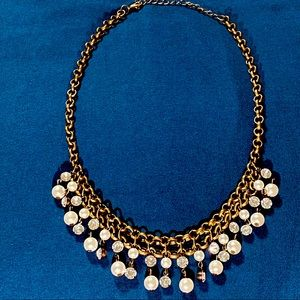 Bronze Rhinestones and Pearls Layered Necklace